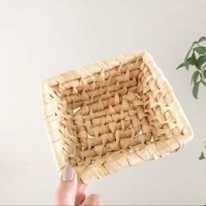 Vintage Wicker Coiled Square Basket Tray